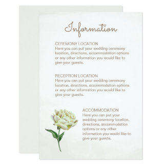 Cream Peony Wedding Information Cards