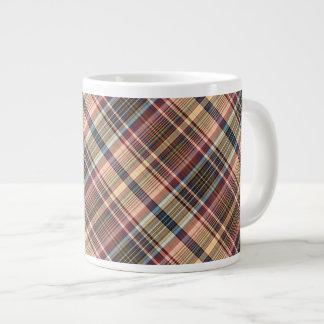 Cream, pink and pale blue plaid jumbo mug