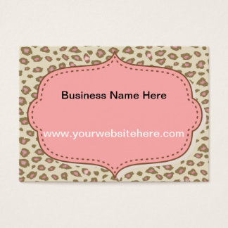 Cream Pink Leopard Print Business Card