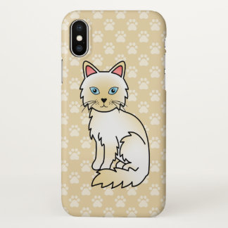 Cream Point Birman / Ragdoll Cat Cartoon Drawing iPhone X Case