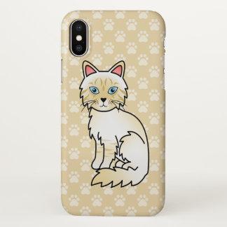 Cream Point Tabby Birman / Ragdoll Cat Drawing iPhone X Case