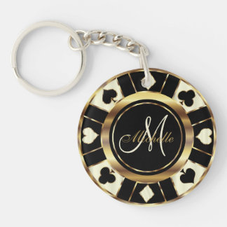Cream Poker Chip Design - Monogram Key Ring