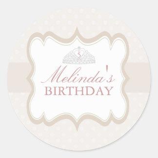 Cream Princess Tiara Girls Birthday Sticker