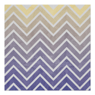 Cream Purple Chevron Pattern Poster