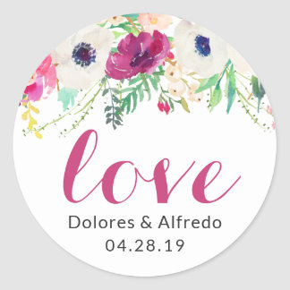 Cream Purple Watercolor Floral Love Script Classic Round Sticker