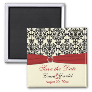 Cream, Red, and Black Damask Save the Date Magnet