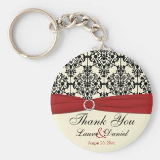 Cream, Red, and Black Damask Wedding Favor Key Ring