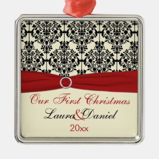 Cream, Red, and Black Damask Wedding Keepsake Silver-Colored Square Decoration