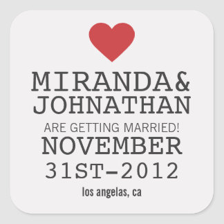 Cream Red Bold Heart Save The Date Stickers