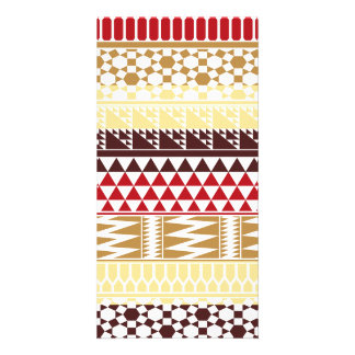 Cream Red Geo Abstract Aztec Tribal Print Pattern Photo Greeting Card
