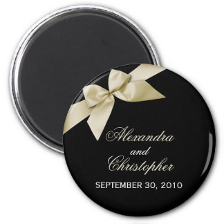 Cream Ribbon Save The Date Wedding Announce 6 Cm Round Magnet