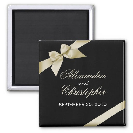 Cream Ribbon Save The Date Wedding Announce Magnets