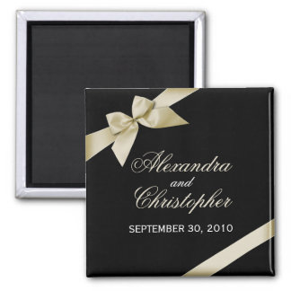 Cream Ribbon Save The Date Wedding Announce Square Magnet