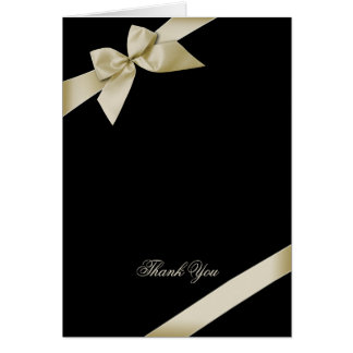 Cream Ribbon Thank You Blank Card