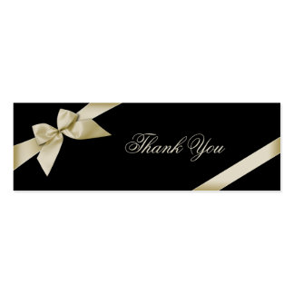 Cream Ribbon Thank You Card Pack Of Skinny Business Cards