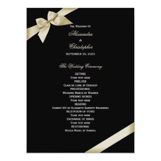 Cream Ribbon Wedding Program