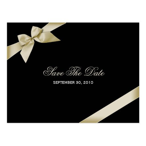Cream Ribbon Wedding Save the Date 2 Post Card