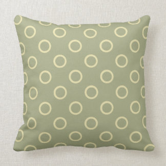 Cream Rings on Sage Green Throw Pillow