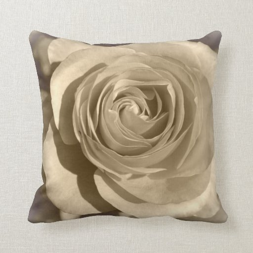 Cream Rose Throw Pillow