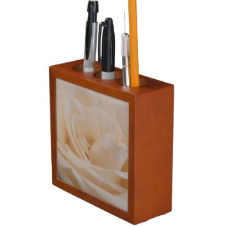 Cream Rose Desk Organizer Pencil/Pen Holder