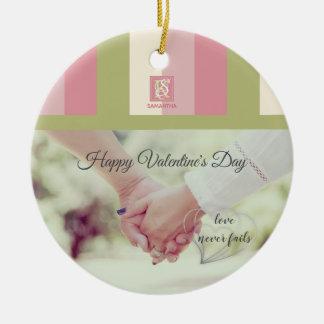 Cream Rose Green Romantic Palette Photo Monogram Ceramic Ornament