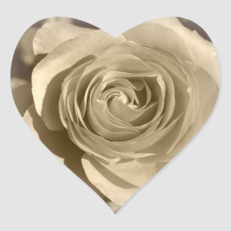 Cream Rose Heart Sticker