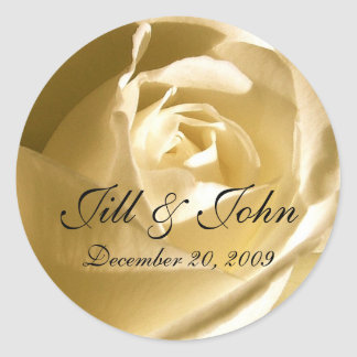 Cream Rose Names Wedding Favor Sticker