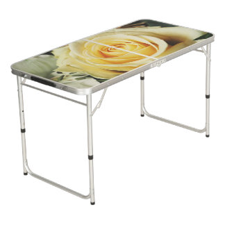 Cream Rose Photograph Beer Pong Table