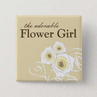 Cream Roses and Swirls Flower Girl Wedding Button