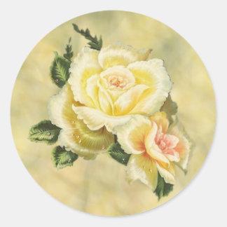Cream Roses Envelope Seal Round Sticker