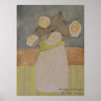 Cream Roses Grey Webbing Print