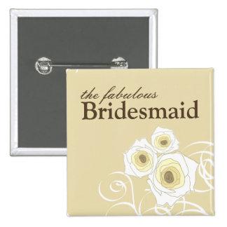 Cream Roses & Swirls *01 Bridesmaid Custom Button