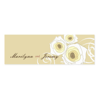 Cream Roses & Swirls *01 Custom Thank You Gift Tag Pack Of Skinny Business Cards