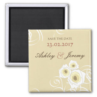 Cream Roses & Swirls *01 Save The Date Magnet