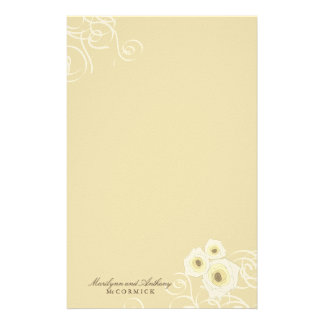 Cream Roses & Swirls Personal Thank You Stationery