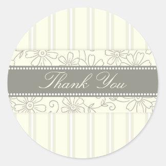 Cream Stripes Floral Thank You Envelope Seals Round Sticker