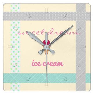 Cream Sweet Dreams Ice Cream Wall Clock