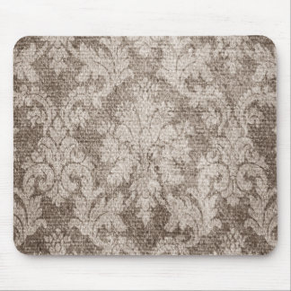 Cream, Tan Damask Mouse Pad