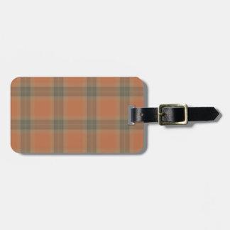 Cream Tartan Luggage Tag w/ leather strap