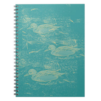 Cream Teal Duck Print Notebook