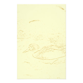 Cream Teal Duck Print Stationery