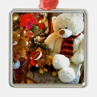 Cream Teddy Bear Silver-Colored Square Decoration
