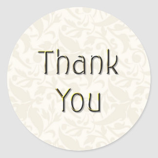 Cream Thank You Sticker-TY02 Round Sticker