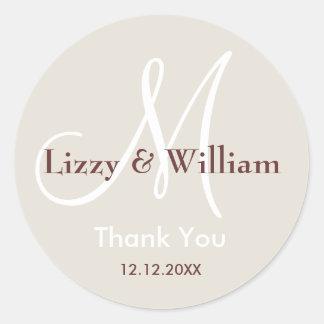 Cream Thank You Wedding Monogram Sticker