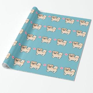 Cream Tibetan Spaniel Cartoon Dog Wrapping Paper