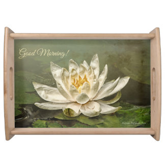 Cream Water Lily Serving Tray