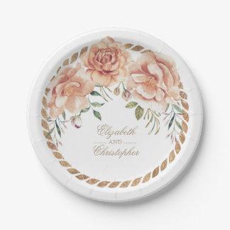 Cream Watercolor Floral Bouquet Vintage Wedding 7 Inch Paper Plate