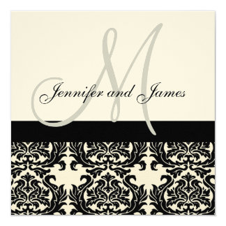 Cream Wedding Invitation Monogram Black Damask