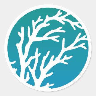 Cream Wheels Blue Tree Round Sticker