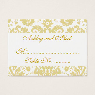 Cream White Damask Wedding Reception Place Cards